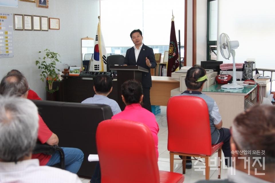 ▲ 박남명 지부장은 이날 이사회에서 회원들과의 소통을 특히 강조했다.
