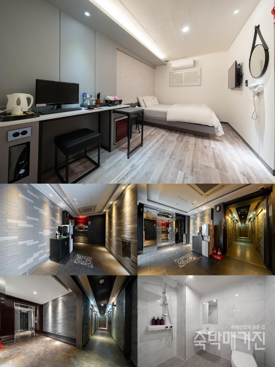 ▲ 시원한 콘셉트가 인상적인 객실과 세련되고 깔끔하게 마무리된 로비