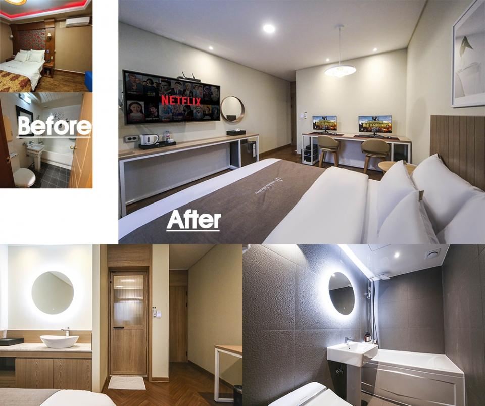 ▲ 투박하고 어두웠던 객실이 각종 편의시설을 갖춘 밝고 아늑한 공간으로 거듭났다